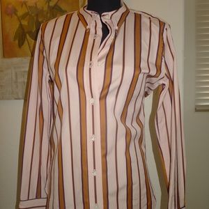 AUTH ISABEL MARANT FITTED STRPIED COTTON BLOUSE